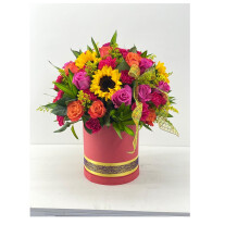 24 Polychromatic roses & sunflowers