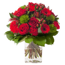 Sympathy bouquet in red colour (without vase)