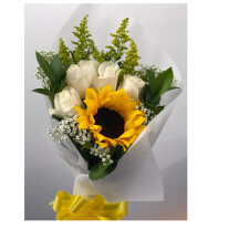 Sunflower & roses bouquet